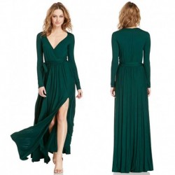 Long Sleeves Long Slit Dress