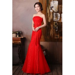 Strapless Ribbon Lace Dinner Evening Dress