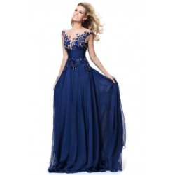 Deep Blue Lace Mesh Evening Long Dress