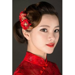 Chinese Bridal Style Red Diamante & Crystal Flower Hair Comb