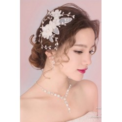Korean Bridal 3-pieces style (necklace+earring+ hair pin)