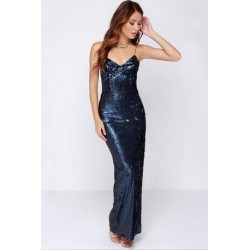Blue Sequin Low Back Spaghetti Evening Long Slit Dress