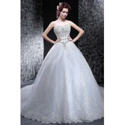 2016 new spring & summer korean style lace & diamante wedding dress