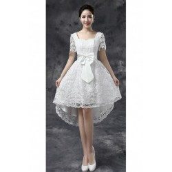 2016 New Spring & Summer Lace Short Long Short Sleeve Bridesmaid Dress