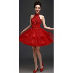 2016 New Summer Red Halter-neck Bridesmaid Dress