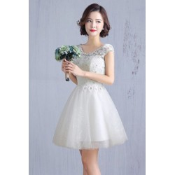 2016 New Spring & Summer Short Sleeve Bridesmaid Dress