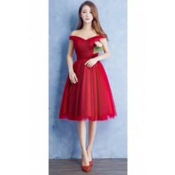 2016 New Deep Red Midi Off-shoulder Bridesmaid Dress