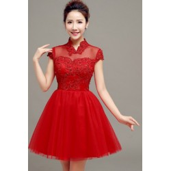 2016 New Summer Korean Style Deep Red Cheongsam Collar Short Bridesmaid Dress