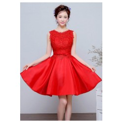 2016 New Spring Korean Style Red Satin A-line Bridesmaid Dress