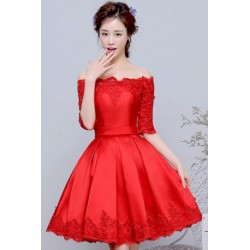 2016 New Spring Korean Style Red Lace Off-shoulder Bridesmaid Dress