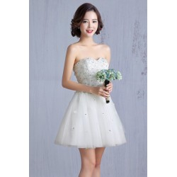 2016 New Spring & Summer Korean Style White Tube Bridesmaid Dress