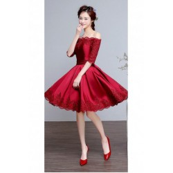 2016 New Wine Red Lace Off-shoulder Knee-length Bridesmaid Dress