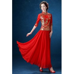 2016 New Spring & Summer Chinese Style Red Long Cheongsam Wedding Dress