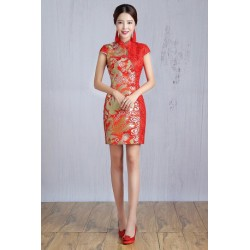 2016 New Spring & Summer Short Red Embroidery Cheongsam Wedding Dress