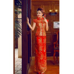 New Summer Retro Flower Embroidery Chinese Style Cheongsam Wedding Dress