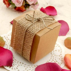 DIY Kraft Bomboniere Favour Boxes with Burlap and Jute Twine