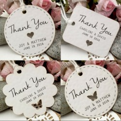 Personalized White Wedding Favor / Thank You / Gift Tags with Twine ( Set A - 5 Designs )