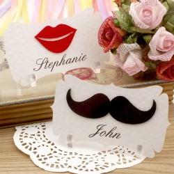 Personalized Felt Mustache and Lips Place Cards