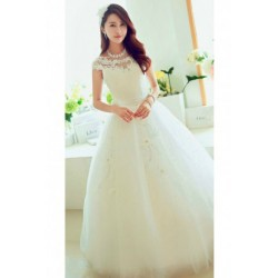 2016 New Summer Korean Style Short-Sleeved Diamante Wedding Dress