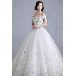 2016 New Summer Korean Style Diamante Off-Shoulder Lace Wedding Dress