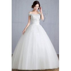 2016 New Summer Korean Style Off Shoulder Satin Wedding Dress