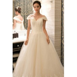 2016 New Summer Korean Style Off Shoulder Diamante Wedding Dress