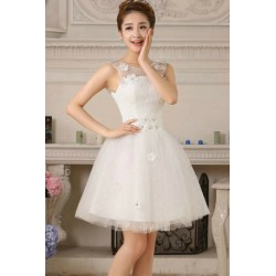 2016 Korean Princess Style Lace Short Sleeves Bridesmaid Dress