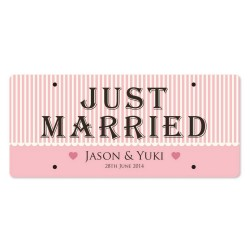 Just Married Personalized Printed Car Plate - Linear Romance
