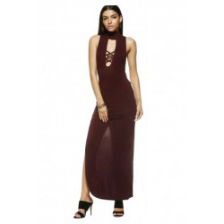 Fashionable Slimming Low-Cut Turtle Neck Maxi Dress