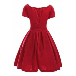 Women's Convertible Off The Shoulder Pleated Red Dres