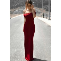 Stylish Pure Color Off-The-Shoulder 3/4 Sleeve Maxi Dress