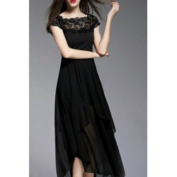 Trendy Boat Neck Lace Splicing Slimming Dress