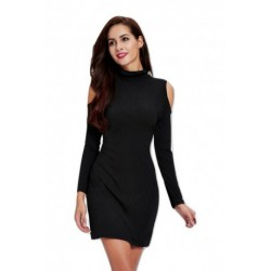 Charming Cut Out Black Slimming Dress