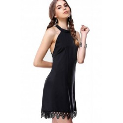 Chic Round Neck Cut Out Laciness Dress