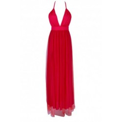 Red Criss Back Plunging Neck Dress