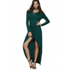 Graceful Pure Color Front Twisted Asymmetric Dress