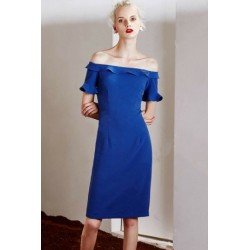 Stylish Sapphire Blue Off The Shoulder Ruffles Slimming Dress