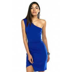 Stylish Solid Color One Shoulder Bodycon Dress