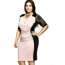Plus Size Chic V-Neck 1/2 Sleeves Splice Lace Dress