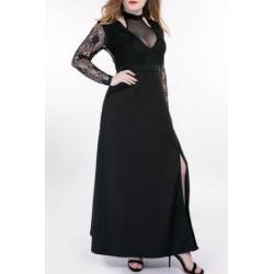 Oversized Alluring See-Through Lace Splicing Dress