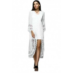 Stylish V-Neck Lace Splicing Flare Sleeve Night Gown