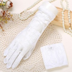 Stylish See Through Rose Jacquard Lace Gloves