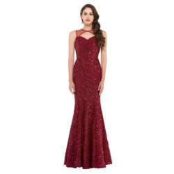 Sleeveless Mermaid Sequined Open Back Evening Dress