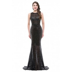 Sequined Floor-Length Open Back Formal Evening Gown