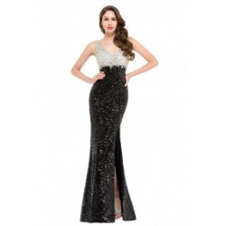 Sequined High Slit V-Neck Satin Dramatic Evening Dress
