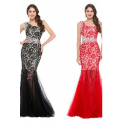 One Shoulder Mermaid Long Tulle Evening Dress (2 Colors)