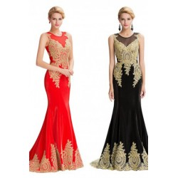 Elegant Classic Gold Appliques Ball Gown / Evening Dress (5 Colors)