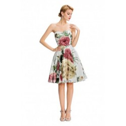 Spring Floral Strapless Sweetheart Necklace Chiffon Short Dress