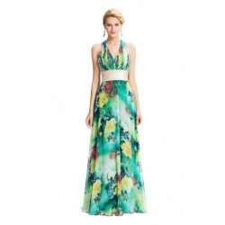 Halter V-Neck Floral Patterned Chiffon Long Evening Dress