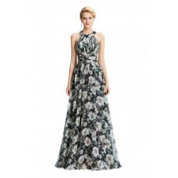 Halter Floral Printed Backless Chiffon Evening Dress